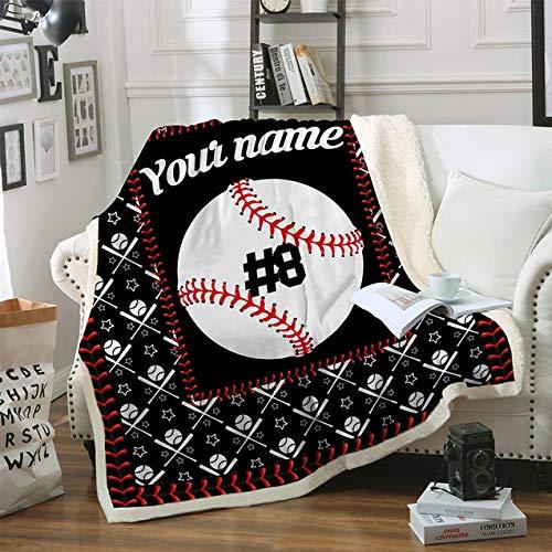 FDCSYP Decken,Bettwäsche Persönlichkeit Baseball 3D-Digitaldruck Sherpa Throw Blanket - Warme Doppelbett Wirft Decke,Für Schlafsofa Winter Blatt Flauschigen Bettdecken,75X100Cm/30X40 Zoll