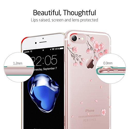 Coque iPhone 7 Mouton, ESR iPhone 7 Coque Transparente Silicone Gel TPU Souple avec Cute Motif Dessin Mignon Imprimé, Housse Etui de Protection Bumper Premium [Anti Choc] [Ultra Fine] [Ultra Léger] [L Fleur de Cerisier