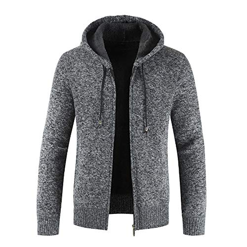 Xmiral Herren Stricken Jacke Mantel Lässige Zipper Kordelzug Hoodie Outwear Pullover (M,Schwarz)