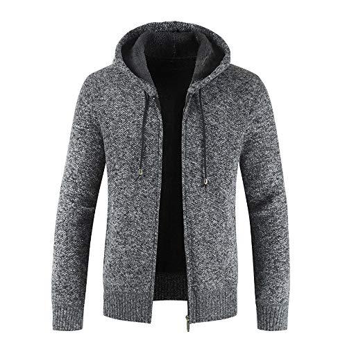Xmiral Herren Stricken Jacke Mantel Lässige Zipper Kordelzug Hoodie Outwear Pullover ()