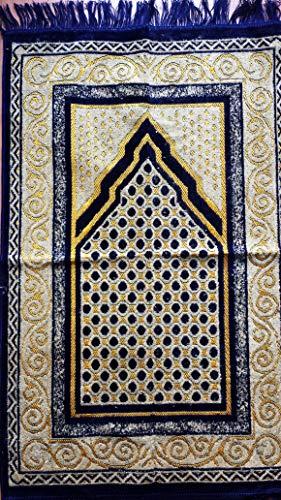 Elegant Entworfene Hohe Qualität Gebet Matte Teppiche Sejadah Sajadah Gebetsteppich Seccade Sejjada Islam Mekka Namazlik Orientteppich 110 x 70 cm Neu (Dunkelblau) - Islam-teppich