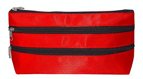 Kosmetik-Täschchen Rot mit 3 Reißverschluss-Fächern