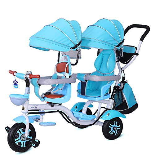 JYWXK Tricycle pour Enfant 4 en 1 Double Poussette Confort 2 Places 3 Roues avec siège Rotatif pour Enfant à partir de 6 Mois à 6 Ans C