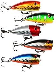 hibote Lote 5pcs Topwa 9g 7cm Pesca flotante Popper Popper del señuelo ganchos del cebo de Crankbait, colores multi plástico realista swimbait cebo duro