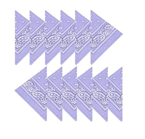Boolavard 100% Baumwolle, 1er 6er, oder 12er Pack Bandanas mit original Paisley Muster | Farbe nach Wahl Headwear/Haar Schal Ansatz Handgelenk Verpackungs Band Kopf Bindung (12er Flieder)