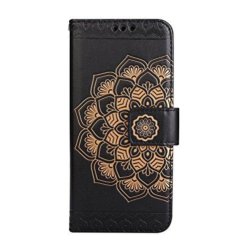 Coque iPhone 6S, Coque iPhone 6, Étui en Cuir de Protection Housse Étui iPhone 6 6S, Mandala Coque iPhone 6 6S Wallet Housse, BONROY PU Leather Case Wallet Flip Protective Cover Protector Pour iPhone  Noir