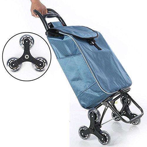 XYLUCKY Leichtes Einkaufstrolley, Hard Wearing & Foldaway für Easy Storage , blue