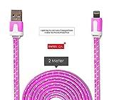 Lightning Kabel - 2m, Rosa, geflochten flach - Sehr schnelles iPhone 7 Ladekabel - verstärktes USB Datenkabel mit Knickschutz - Für Apple iPhone 7 6 5, iPad, iPod - SWISS-QA Geldrückgabe Garantie - 2