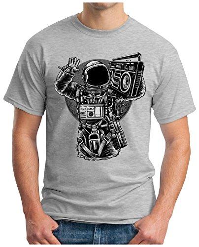 OM3 - ASTRONAUT-MUSIC - T-Shirt MOON SPACE GHETTOBLASTER POP ROCK PUNK HipHop FUN, M, grau meliert (Hip-hop-rock-punk-t-shirts)