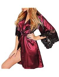 QinMM Albornoz Mujer Satén Camisón Sexy Pijama Vestido Kimono Pijama Ropa de ...
