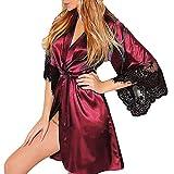 Tatis Unterwäsche Damen Sexy Gürtelschnalle mit Stehkragen, Nachthemd Frauen Sexy Silk Kimono Dressing Babydoll Spitze Dessous Gürtel Bademantel Nachtwäsche Bademantel Anziehen