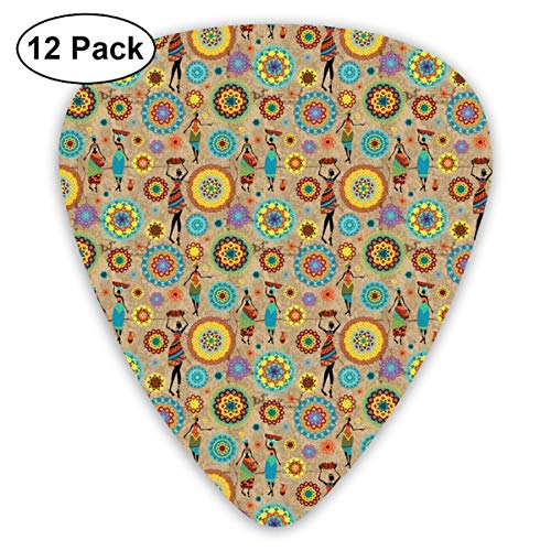 Celluloid Guitar Picks - 12 Pack,Abstract Art Colorful Designs,African Woman Silhouettes With Colorful Dresses And Flower Blossom Pattern Orient,For Bass Electric & Acoustic Guitars. Basso Blossom