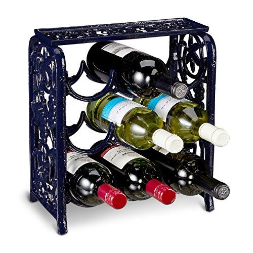 Relaxdays Weinregal aus Gusseisen für 9 Flaschen Wein HBT ca. 35 x 31 x 18 cm Flaschenregal aus Eisen mit Ablagefläche Weinständer für Küche und Esstisch Weinflaschenregal freistehend, dunkelblau