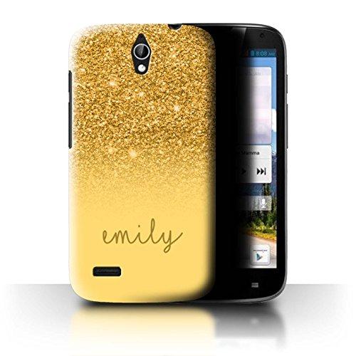 Stuff4® Personalisiert Individuell Glitter Effekt Hülle für Huawei Ascend G610 / Gold Design/Initiale/Name/Text Schutzhülle/Case/Etui