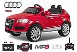 Lizenz Kinderauto Audi Q7 2 x 35W 12V MP3 RC Elektroauto Kinderfahrzeug Ferngesteuert Elektro (Schwarz) 1191162