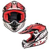 Kinderhelme Motorrad Roller MX Helm Off Road Racing Junior Motorradhelm Kinder Vollgesichtsschutz - 4 Rot XXS