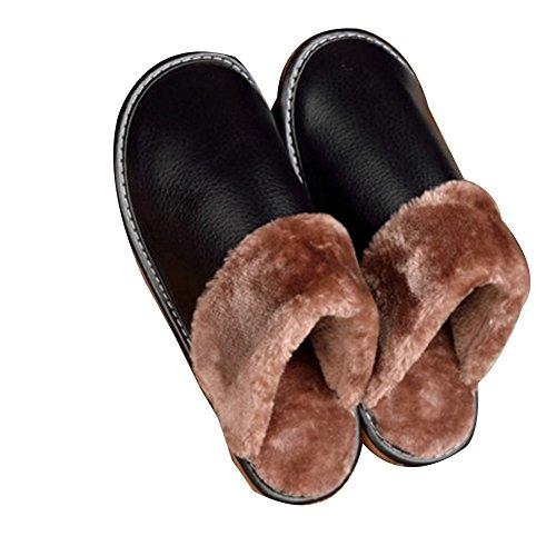 TELLW les Hommes et les Femmes Pantoufles en Cuir Chambre à la Maison parquet en Bois Antidérapant Confort Chaud Coton Pantoufles Hiver Noir