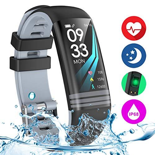 Danloryu Fitness Armband Uhr mit Pulsmesser Fitness Tracker Wasserdicht Farbbildschirm Aktivitätstracker Pulsuhren Schrittzaehler Stoppuhr Fitness Uhr für Damen Herren (Grau)
