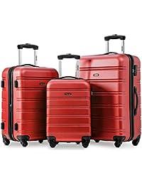 92dd1bb28e Hard Luggage Set of 3-Expandable Suitcases 4 Wheels Luggage Set (20+24