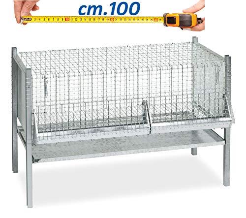 Motisi zootecnici gabbia per polli pulcini da cm.100, fornita di mangiatoia, abbeveratoio e padella raccolta feci, gabbia robusta e solida