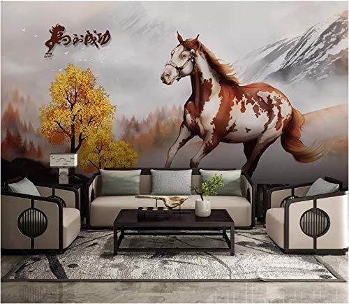 Braunes weißes Pferd Fototapete Vlies Tapete - Moderne Wanddeko - Design Tapete - Wandtapete - Wand Dekoration
