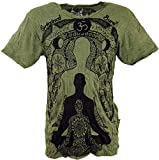 Guru-Shop Sure T-Shirt Meditation Buddha, Herren, Olive, Baumwolle, Size:XL, Bedrucktes Shirt Alternative Bekleidung