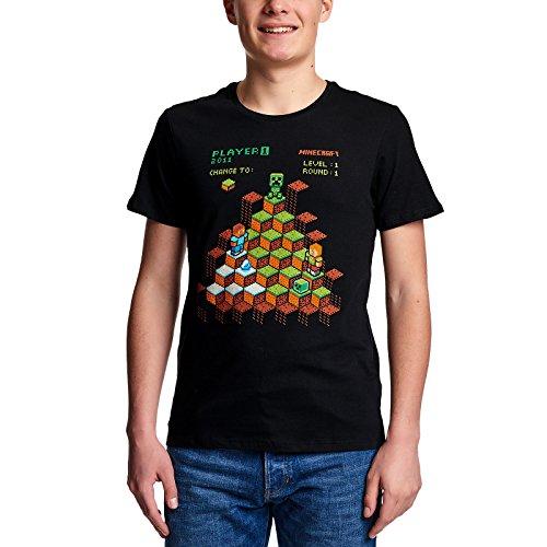 JINX Minecraft Herren T-Shirt Miner Mountain Retro Baumwolle Schwarz - L