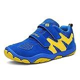 katliu Kinder Schuhe mit Klettverschluss Jungen Trekking Wanderschuhe Mädchen Halbschuhe Turnschuhe Outdoor Sportschuhe Lauf Sneaker Blau, 32 EU