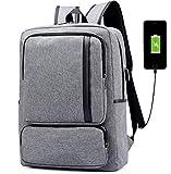 Super Modern Unisex Schule Nylon Rucksack mit USB-Ladegerät Port Laptop Tasche für Teen Mädchen und Jungen Cool Business Rucksack Work Bag Größe L Grau