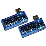 COM-FOUR USB Charger Doctor Multimeter Ladegerät Detektor Strom- und Spannungsmesser Digitaler Voltmeter Tester 3,5 V-7,0 V, 0-3A (2 Stück)