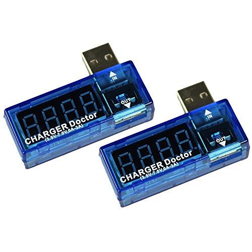 COM-FOUR® USB Charger Doctor Multimeter Ladegerät Detektor Strom- und Spannungsmesser Digitaler Voltmeter Tester 3,5 V-7,0 V, 0-3A (2 Stück)