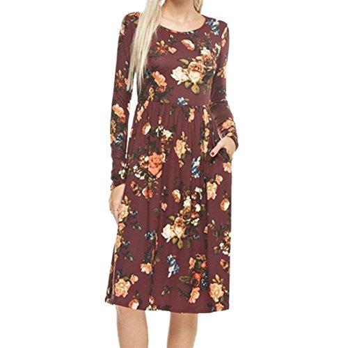 Damen Kleid LSAltd Frauen Herbst Weinlese Blumen gedrucktes Kleid langes Hülsen beiläufiges Abend Partei Kleid (Wein Rot, (Kostüme Top Halter)