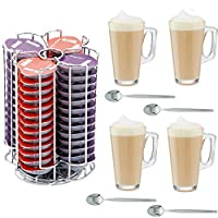 Home Treats 56 Pod Tassimo Coffee Pod Holder With 4 Free Latte Glasses and Spoons