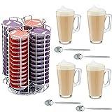 Home Treats 56Tassimo T-Disc Kaffee Kapselhalter mit 4Latte Macchiato Gläser und Löffel