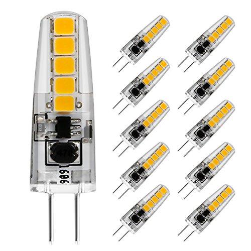 LE Bombilla LED G4 2W = 20W Halógena 210lm 10 LEDs Blanco cálido, pack de 10 bombillas bipin