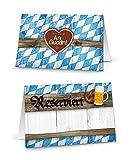 50 Stück Reserviert-Schilder blau-weiß kariert bayerische Tischkarten Klappkarten zum Hinstellen Tisch-Reservierung Bierzelt Hotel Restaurant - Hochzeit Geburtstag Bierzelt Volksfest Oktoberfest Fest