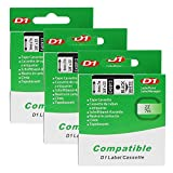 3 x D1 40913 / S0720680 Nero su Bianco 9mm x 7m Label Tape Nastro per Etichette per DYMO LabelManager et LabelPoint LP100, LP150, LP200, LP250, LP300, LP350, PC, PC2, PnP, PnP WiFi, LW400, LW450 Duo