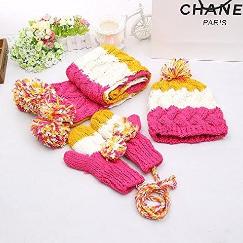 WJP sciarpa Hat guanti tre Kit pezzo coreano Onda a mano moda inverno cute calda lana lavorata a maglia cappelli insiemi W-218