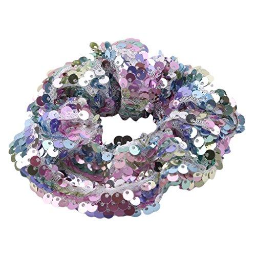 aar Ring Doppelseitige Lady Kinder Pailletten Elastisches Haarband Bunte Seil Ring Scrunchie Pferdeschwanz Zubehör, helle Farbe (12#), Größe ()