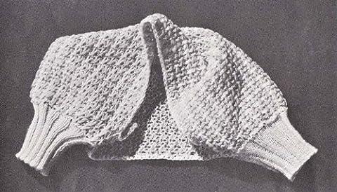 Knitted Bed Jacket Shrug Shoulderette Vintage Knitting Pattern #B-238