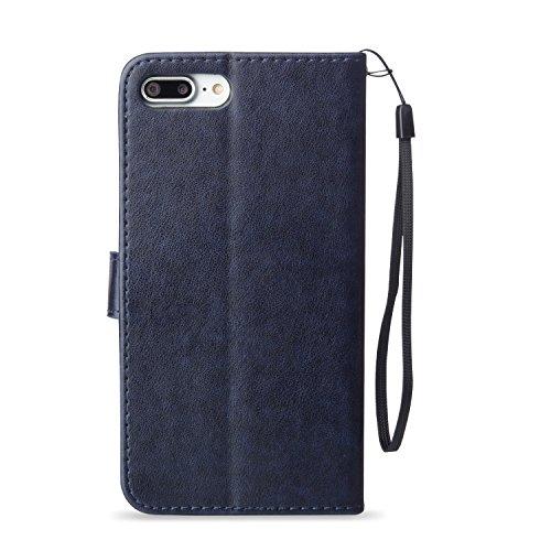 Coque iPhone 7 Plus Bleu 3D Papillon Portefeuille Fermoir Magnétique Supporter Flip Téléphone Protection Housse Case Étui Pour Apple iPhone 7 Plus + Deux cadeau dark blue