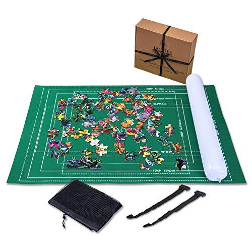 Jaques of London Puzzlematte BIS 2000 Teile - Puzzlematte mit faltbarem Stoff - Puzzle-Rolle - Rollmatte mit leicht zu fassendem Baize-Befestigungsmaterial und KOSTENLOSEM Aufbewahrungskoffer