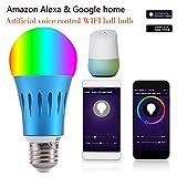 CARDMOE Ampoule Intelligente Ampoule LED WiFi, Lampe à Gradation RVB Compatible avec Alexa, Google Home et IFTTT, Aucun concentrateur requis
