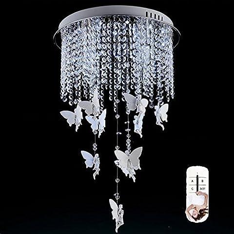 European Style Modern Round Creative Engel Kristall Droplight Fixture LED Beleuchtung American Village Stil Persönlichkeit Remote Dimmen Kristall Kronleuchter
