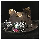 WUXUN-HAT Stilvoll und vielseitig, elegant und Retro Retro Lolita Frauen Männer Steampunk Melone Brille Topper Top Caps Cosplay Hüte Modetrend Hut (Farbe : Schwarzes BLG, Größe : 57-58 cm)