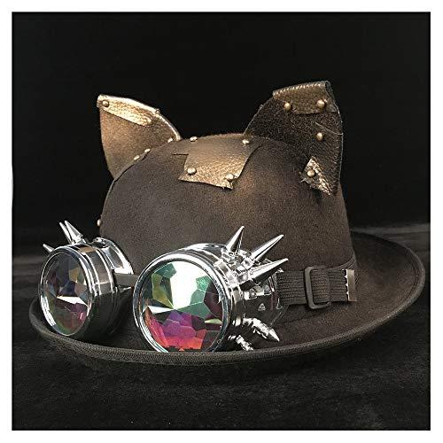 Meipa-Zeit Retro Lolita Frauen Männer Retro Glas Hut Pilot Hut Steampunk Melone Brille Topper Top Cosplay Hüte Cosplay Cos Hut (Farbe : Schwarzes BLG, Größe : 57-58 cm)