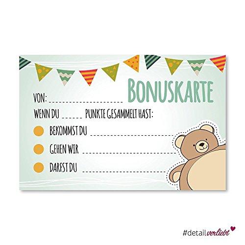 5 Belohnungskarten mit Bären-Motiv zum Ausfüllen I dv_198 I 85 x 55 mm I Belohnungssystem I Motivation für Kinder Jungen Mädchen deutsch -