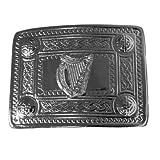 Tartanista Kilt-Gürtelschnalle - Emblem irische/keltische Harfe - Verchromt - EinheitsGröße