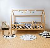 muemue Cama Infantil Montessori casita con barandilla (Pino)
