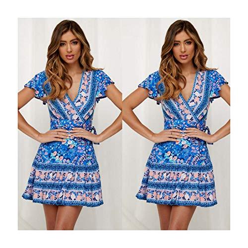 UK Women Wrap Summer Boho Floral Paisley Mini Print Dress Ladies Holiday Beach Style 1-Blue L UK 10 12 -